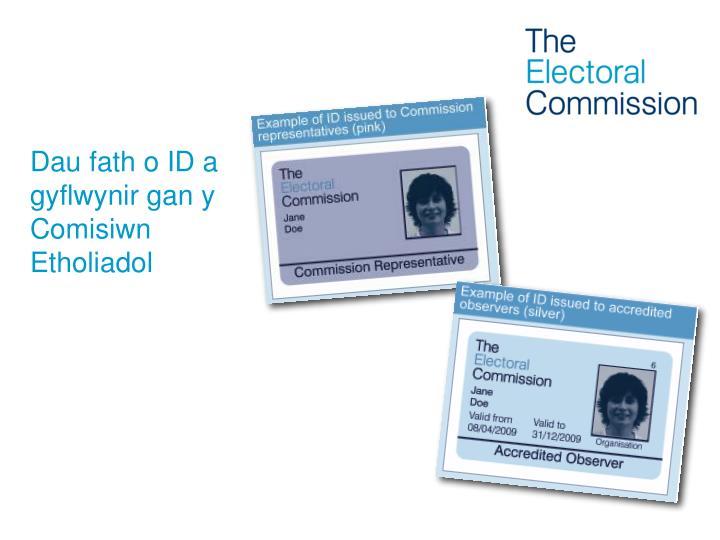 Dau fath o ID a gyflwynir gan y Comisiwn Etholiadol