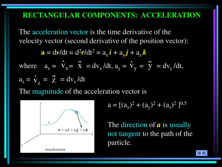 RECTANGULAR COMPONENTS:  ACCELERATION