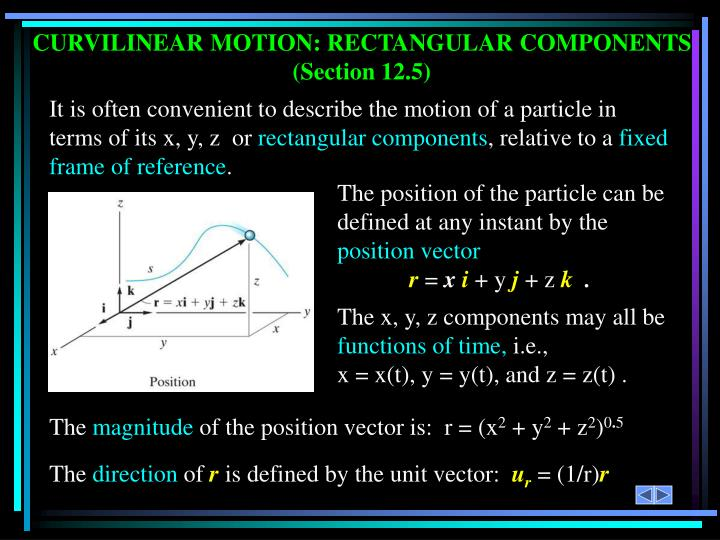 CURVILINEAR MOTION: RECTANGULAR COMPONENTS
