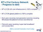 bt s 21st century network progress to date