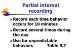 partial interval recording