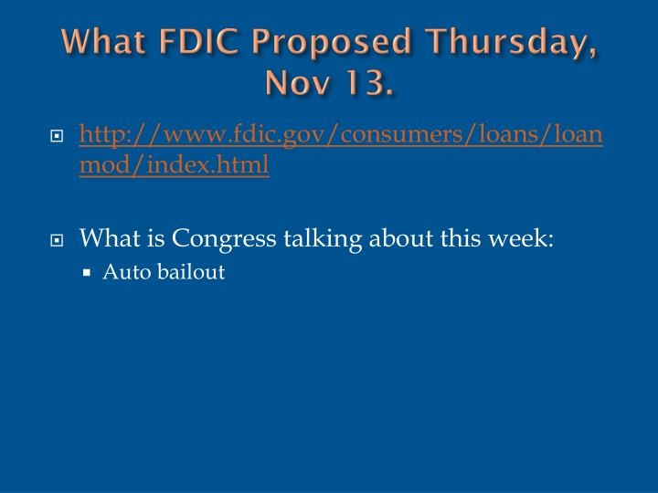 What FDIC Proposed Thursday, Nov 13.