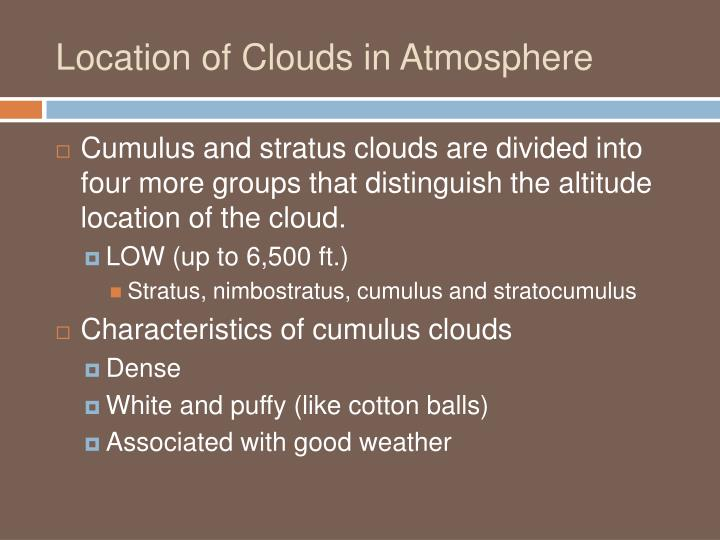 Location of Clouds in Atmosphere