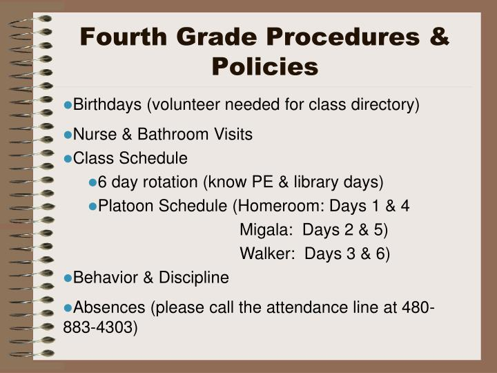 Fourth Grade Procedures & Policies
