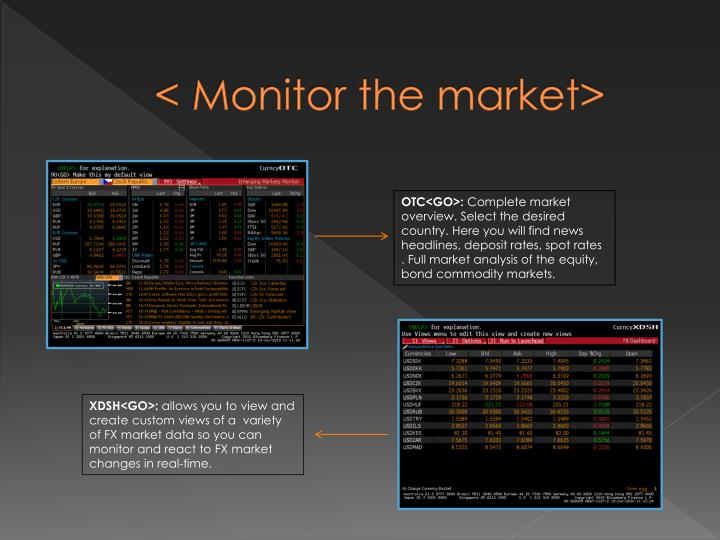 < Monitor the market>