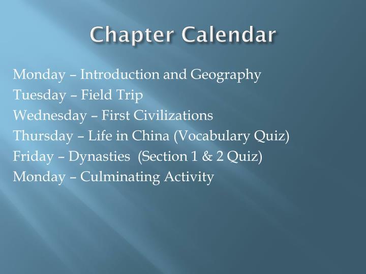 Chapter Calendar