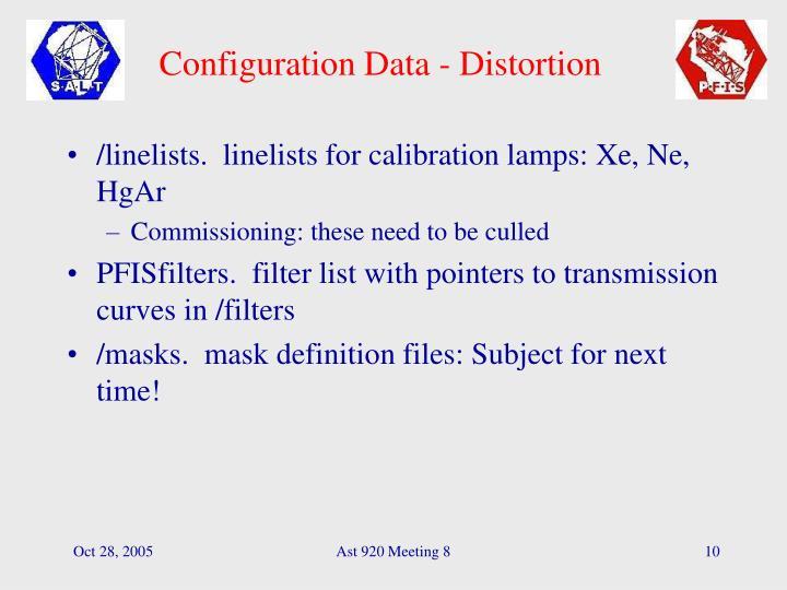 Configuration Data - Distortion