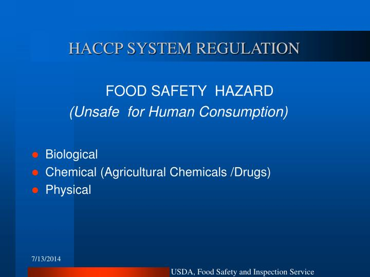 Haccp system regulation