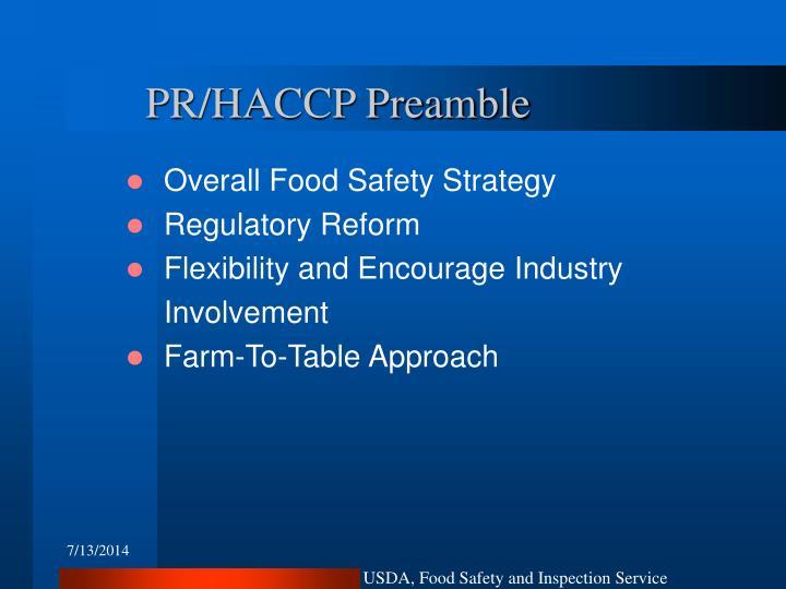 PR/HACCP Preamble