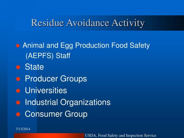 Residue Avoidance Activity