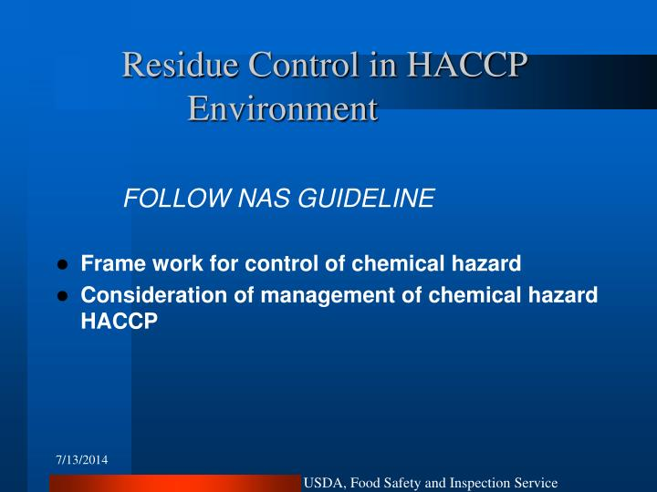 Residue Control in HACCP 			Environment