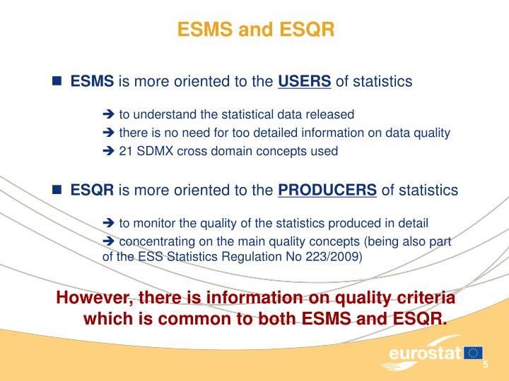 ESMS and ESQR