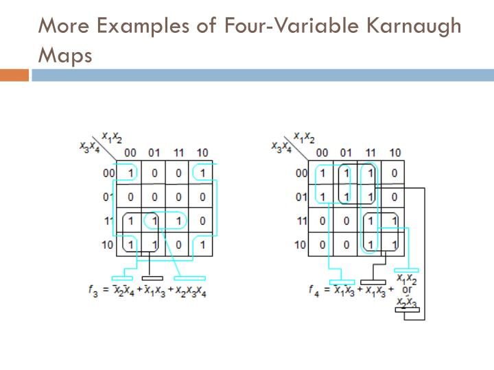 More Examples of Four-Variable Karnaugh Maps