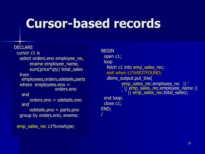 Cursor-based records