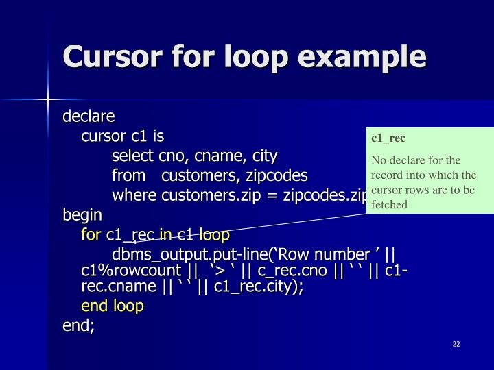 Cursor for loop example