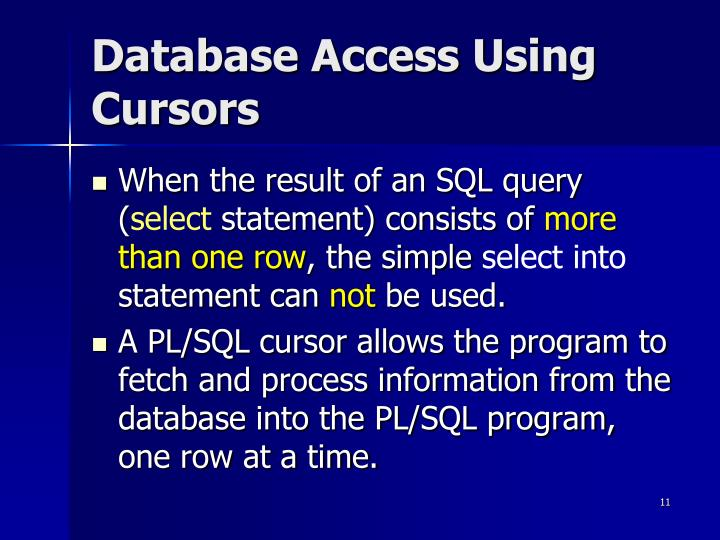 Database Access Using Cursors