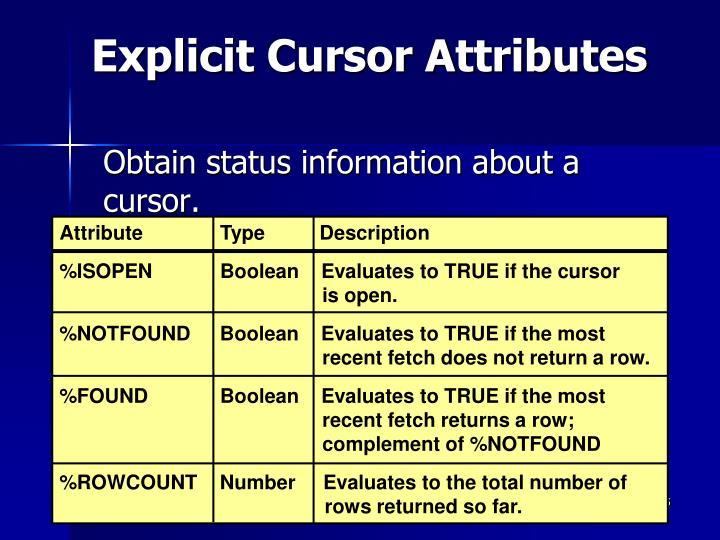 Explicit Cursor Attributes