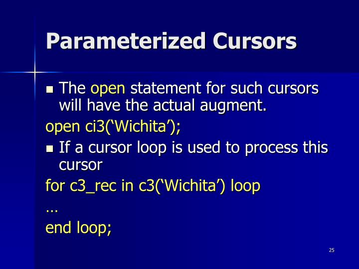 Parameterized Cursors
