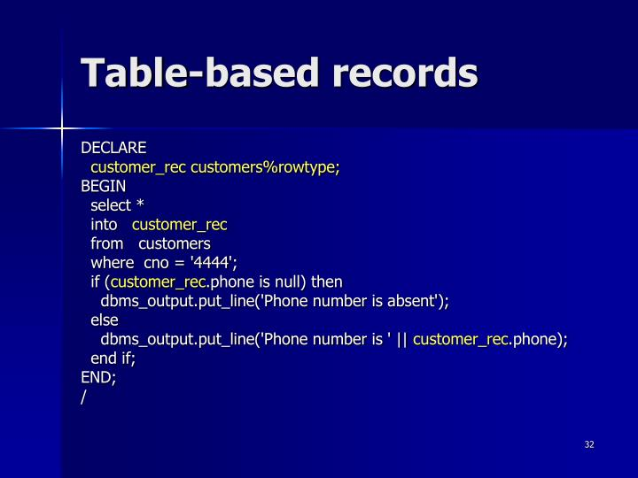 Table-based records