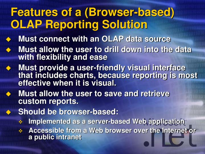 Features of a browser based olap reporting solution