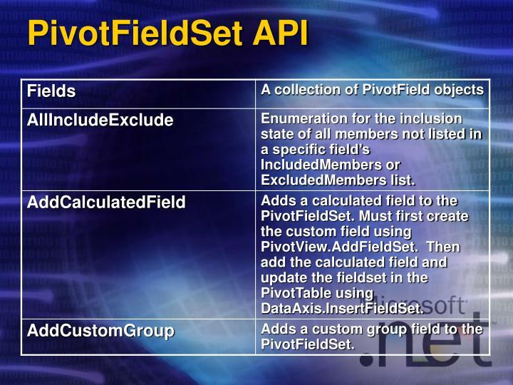 PivotFieldSet API