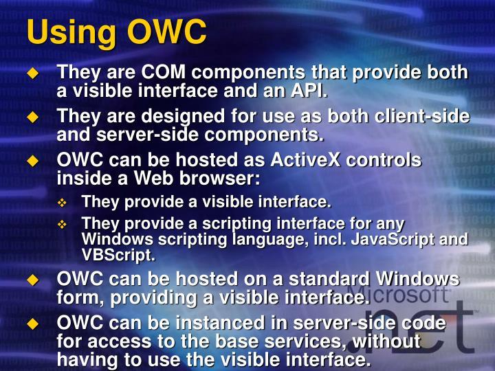 Using OWC