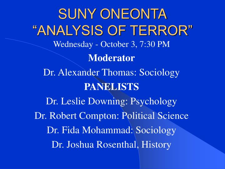 Suny oneonta analysis of terror