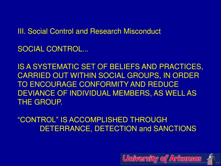 III. Social Control and Research Misconduct