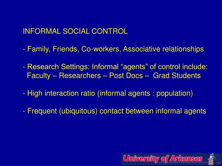 INFORMAL SOCIAL CONTROL