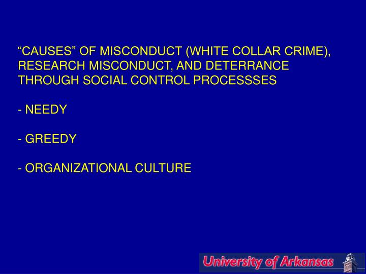 """CAUSES"" OF MISCONDUCT (WHITE COLLAR CRIME),"