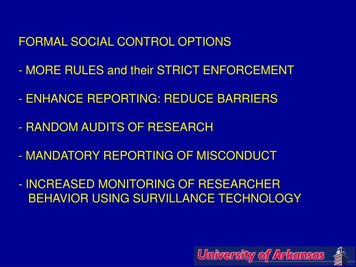 FORMAL SOCIAL CONTROL OPTIONS