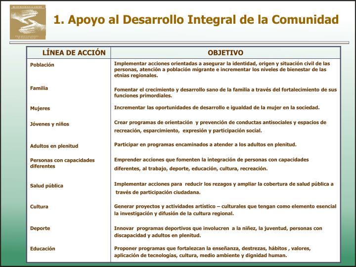 1. Apoyo al Desarrollo Integral de la Comunidad