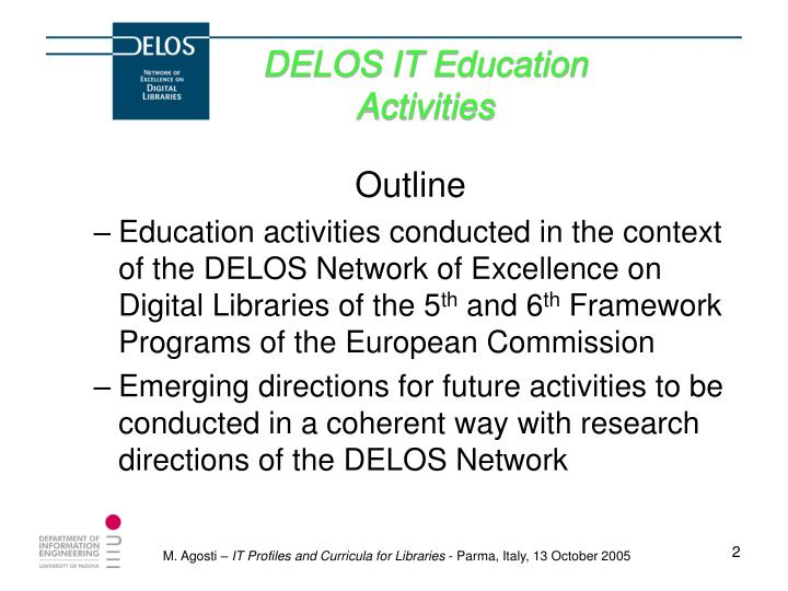 Delos it education activities