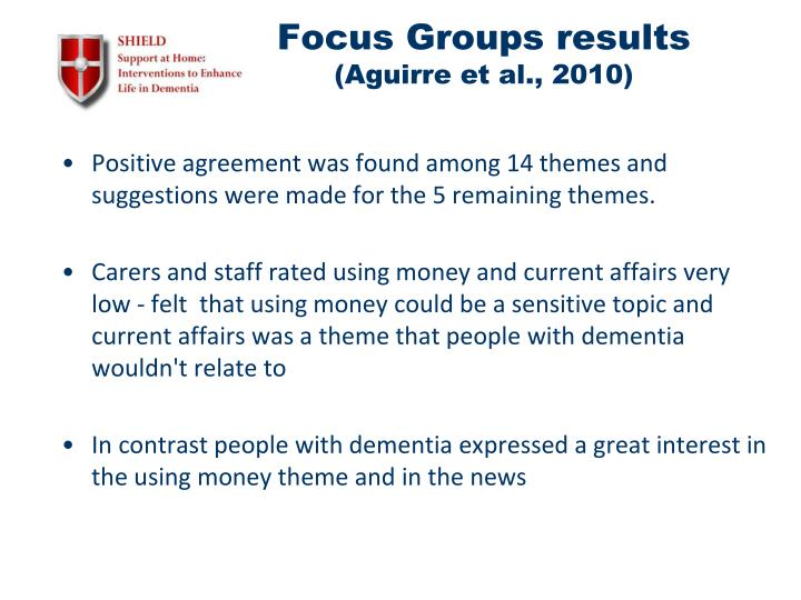 Focus Groups results