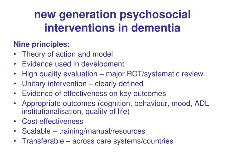 new generation psychosocial interventions in dementia