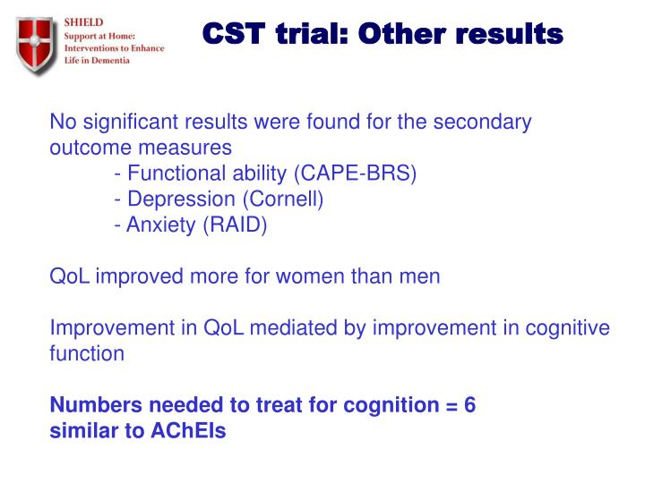 CST trial: Other results