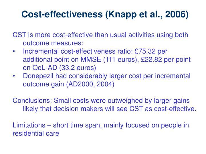 Cost-effectiveness (Knapp et al., 2006)