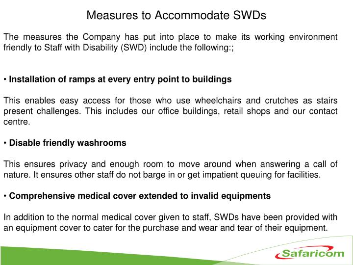 Measures to Accommodate SWDs