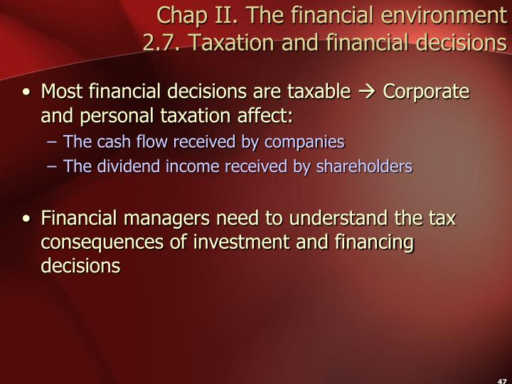Chap II. The financial environment
