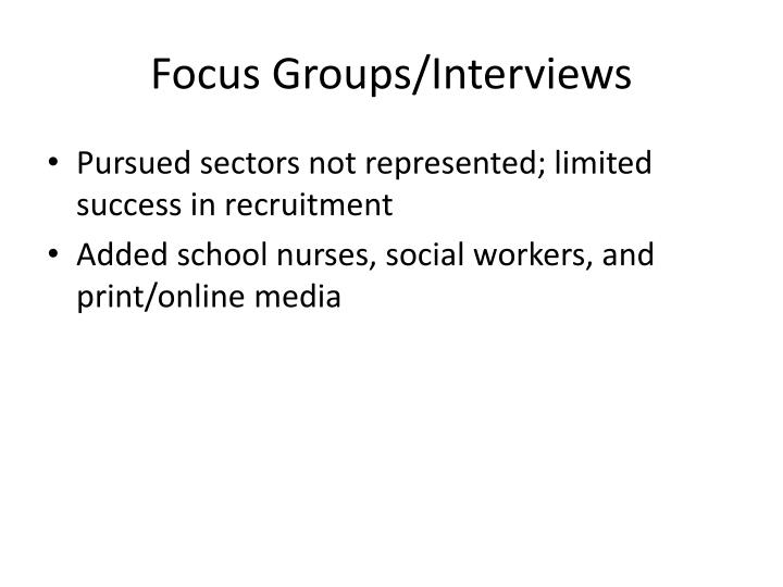 Focus Groups/Interviews