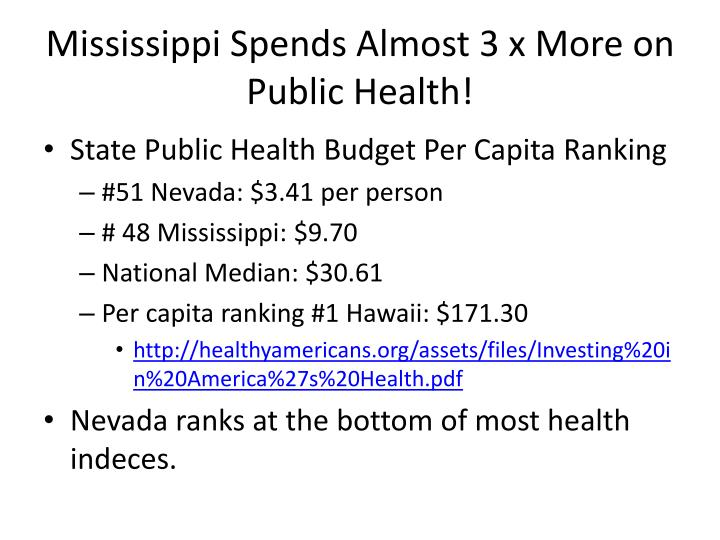 Mississippi spends almost 3 x more on public health
