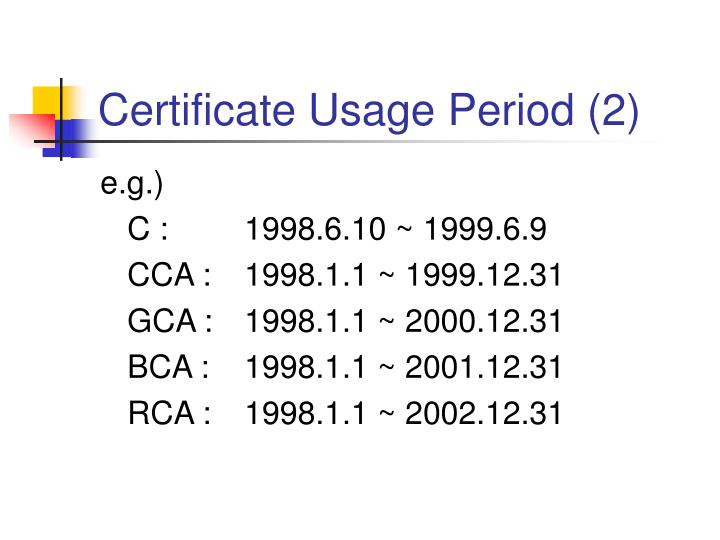 Certificate Usage Period (2)