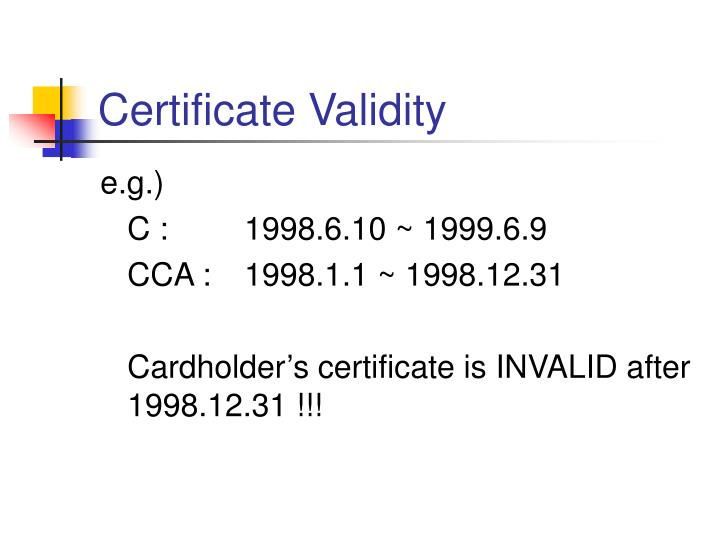 Certificate Validity