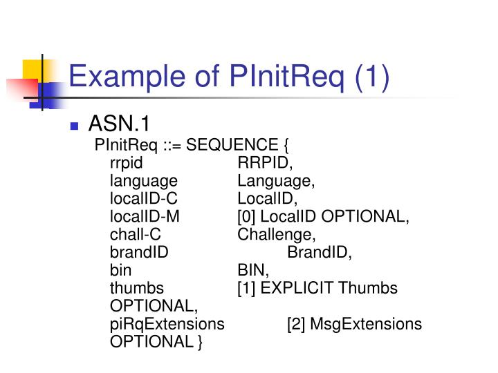 Example of PInitReq (1)