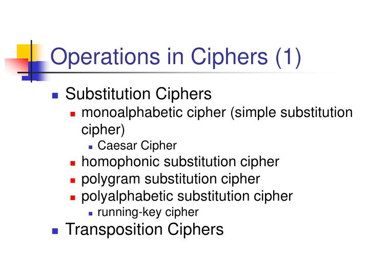 Operations in Ciphers (1)