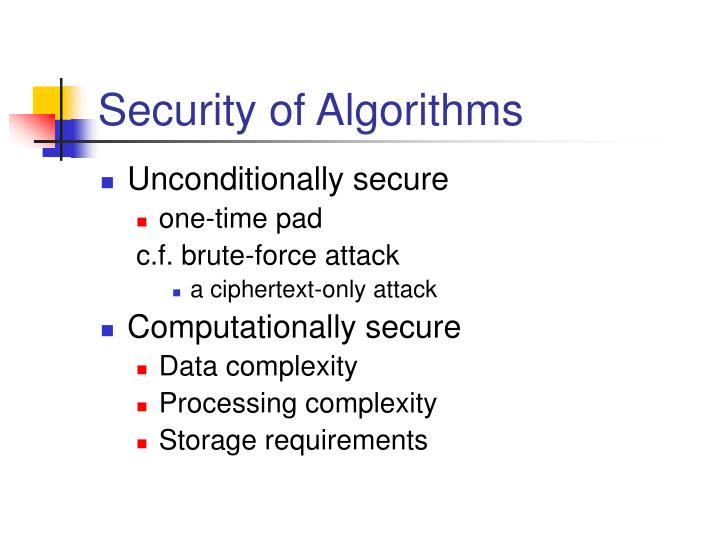 Security of Algorithms
