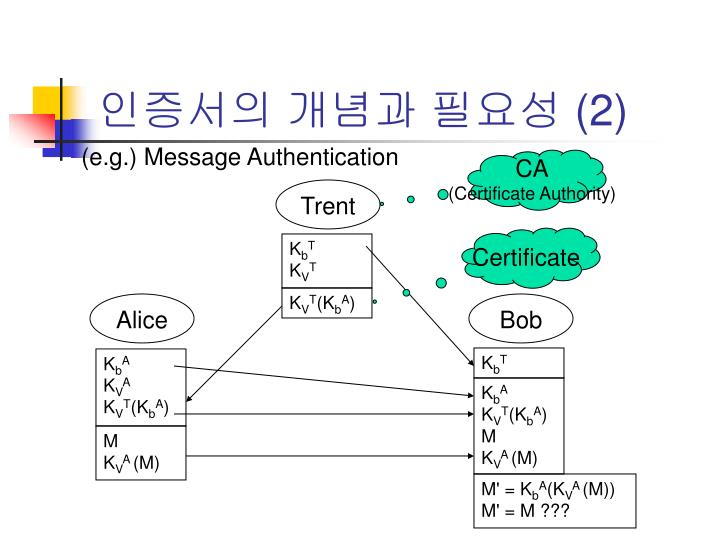 (e.g.) Message Authentication