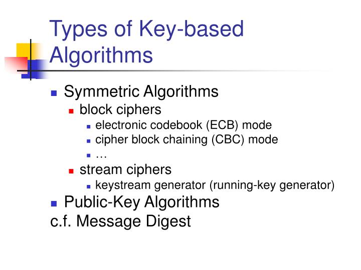 Types of Key-based Algorithms