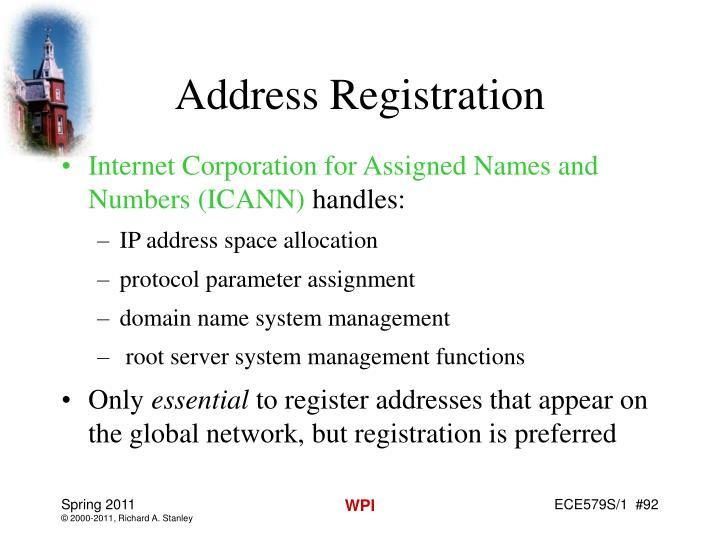 Address Registration