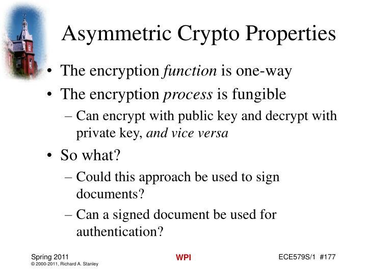 Asymmetric Crypto Properties